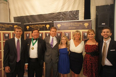 Andy White (second from left), his wife Debbie (third from right) and their family  at 2013 Housing Hall of Fame induction, Home Builders Association of South Carolina