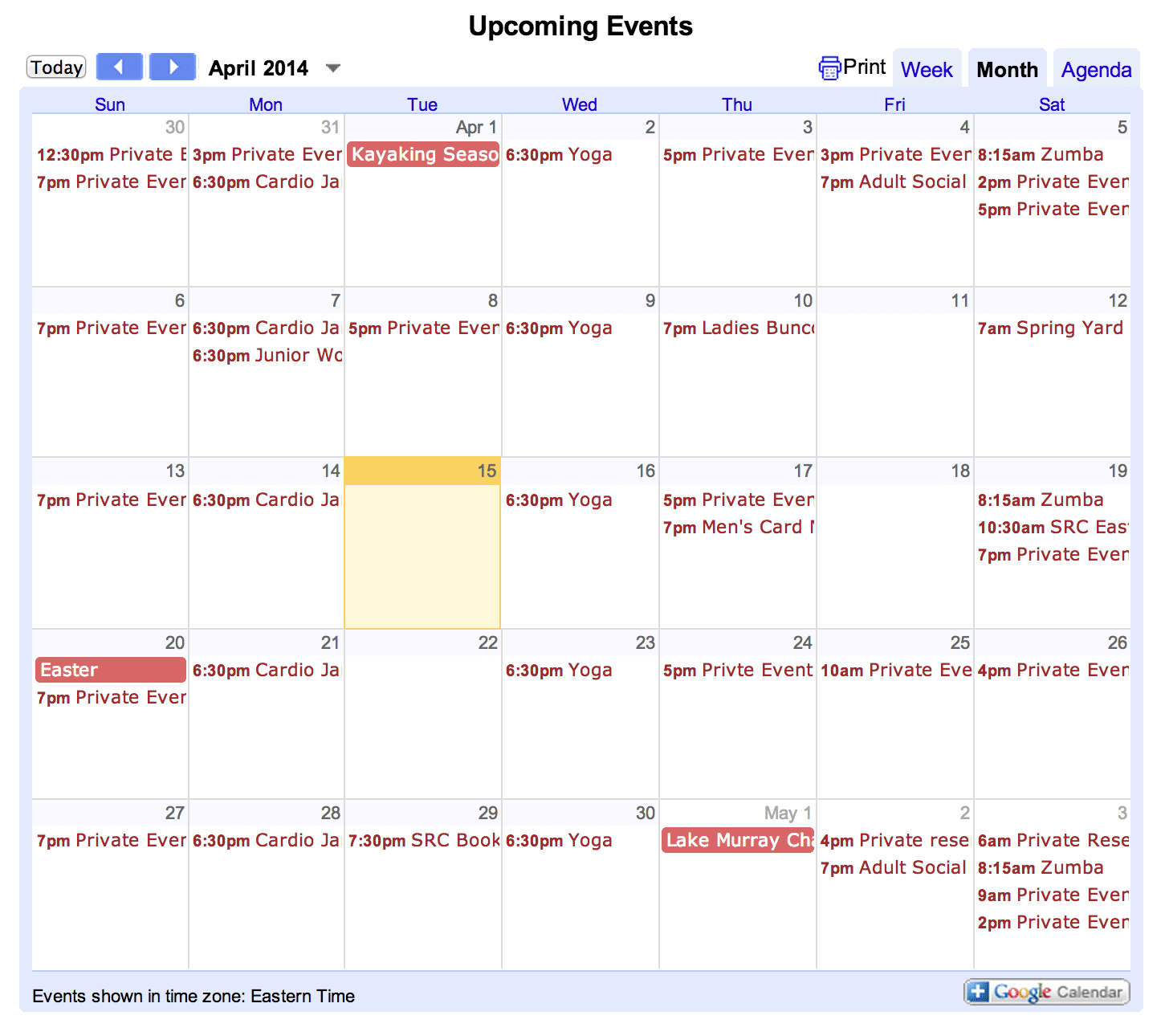 April activities at Saluda River Club