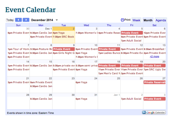 December Activities at Saluda River Club