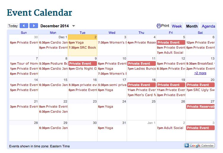 December Activities at Saluda River Club