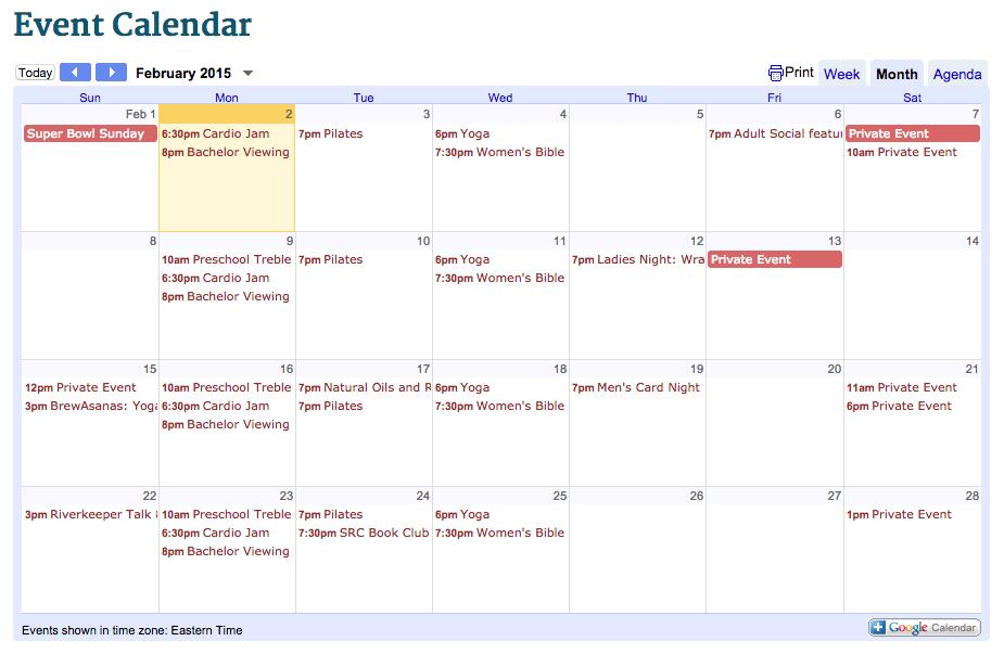 February event calendar