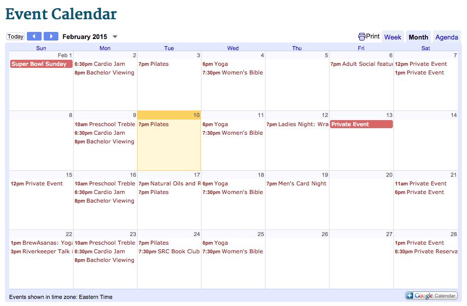 February event calendar at Saluda River Club