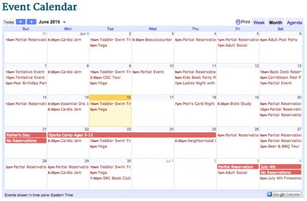 June calendar for Saluda River Club