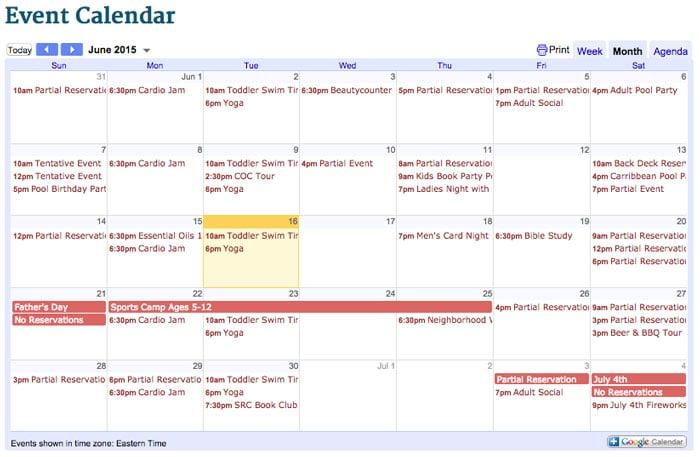 June calendar for Saluda River Club